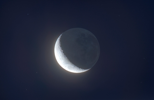 Earthshine on Australian Waning Crescent Moon (HDR)