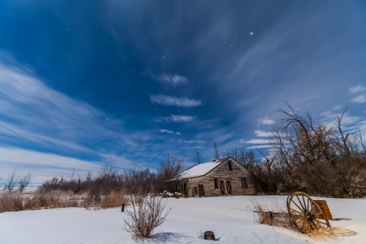 Orion & Winter Stars over Old House