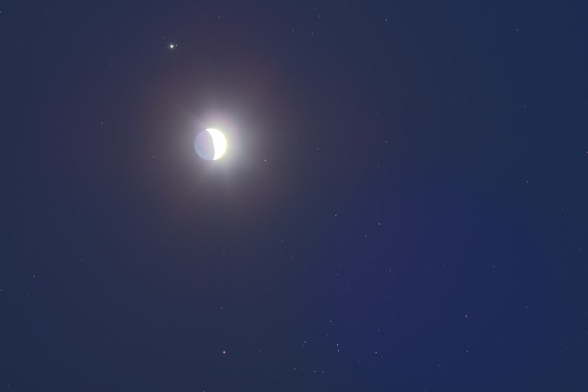 Moon near Jupiter & Hyades (March 17, 2013)