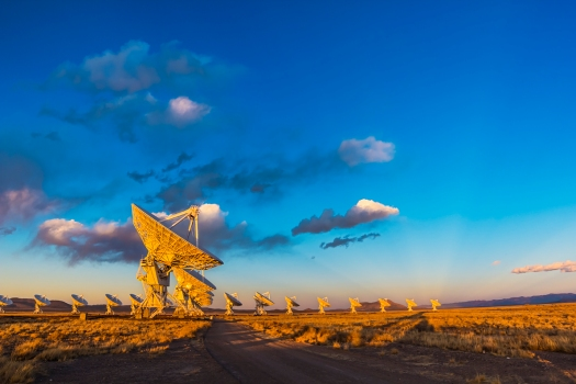 VLA at Sunset with Crepuscular Rays
