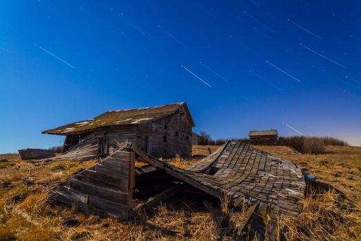 Star Trails over Old Farmstead (April 22, 2013)