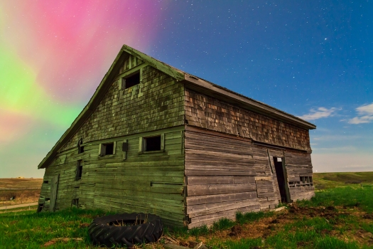Aurora Behind Old Barn (May 17, 2013)