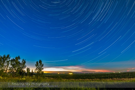 Star Trails and Noctilucent Clouds (Lighten Stack)