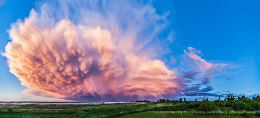 Retreating Thunderstorm at Sunset Panorama