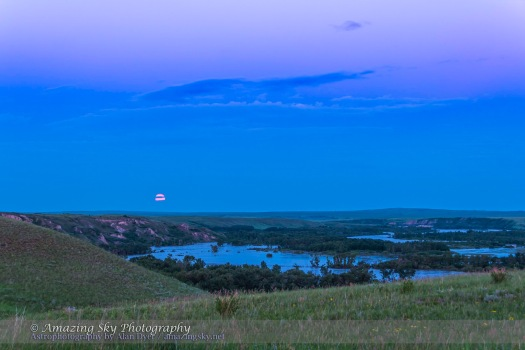Supermoon Rise over Floodwaters of Bow River (June 23, 2013)