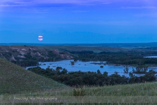 Supermoon Rise over Floodwaters of Bow River #2 (June 23, 2013)