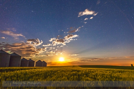 Moonrise Behind Prairie Grain Bins (July 27, 2013)