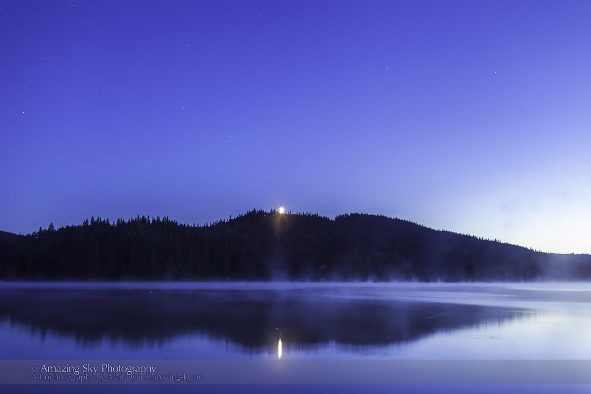Moonset on a Misty Lake (35mm)