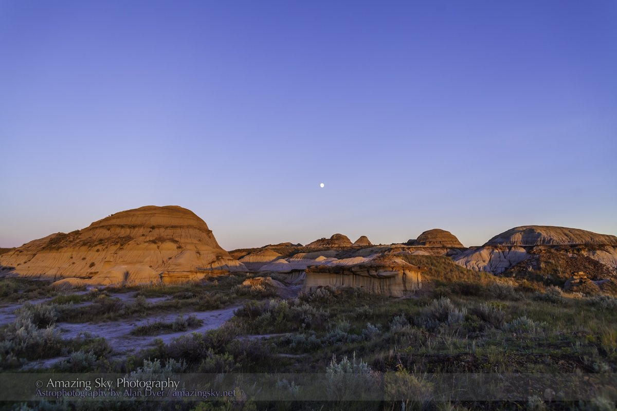 Moon and Sunset Glow at Dinosaur Park (August 18, 2013)