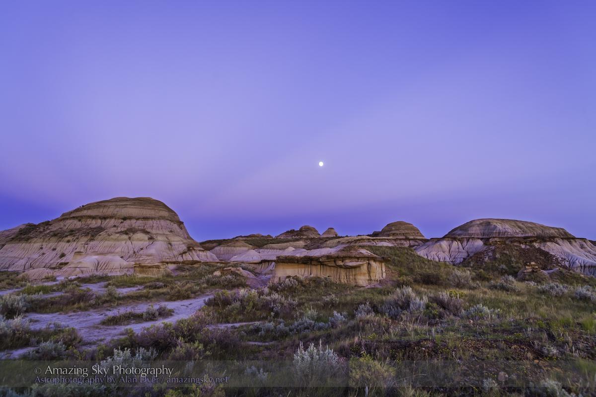 Waxing Moon in Badlands Twilight (August 18, 2013)