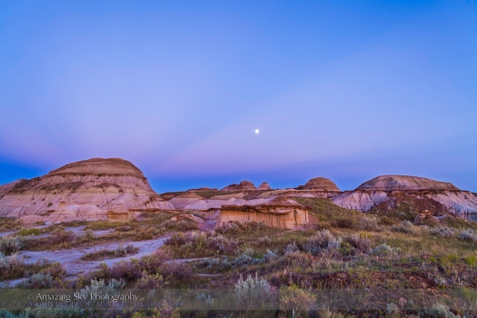 Waxing Moon in Badlands Twilight (August 18, 2013)