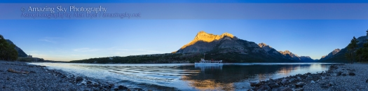 Sunset at Waterton Lakes Panorama (Aug 31, 2013)