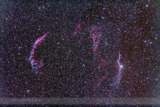 NGC 6960 & 6992-5 Veil Nebula (92mm 5DII)