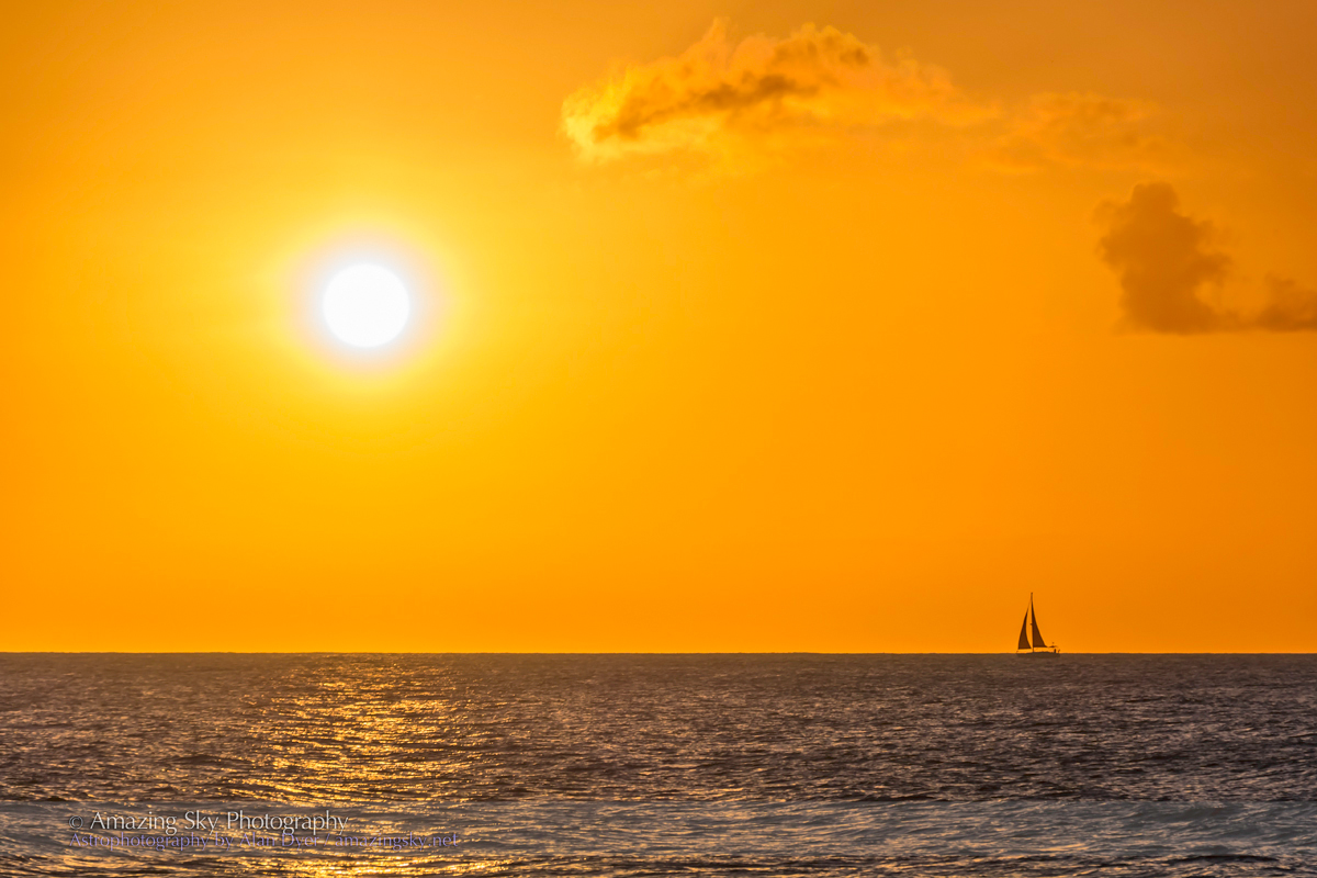Sunset & Sailing Boat from Barbados