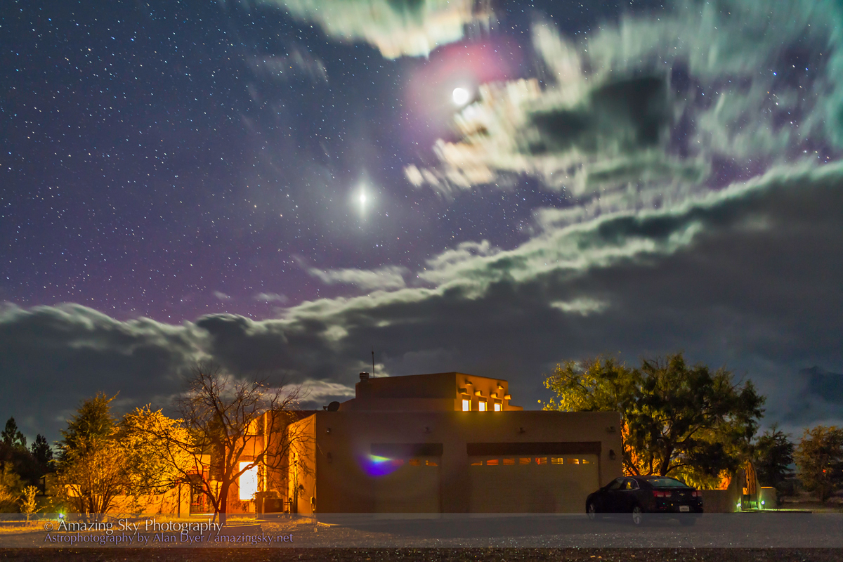 Crescent Moon & Venus Over Adobe House (Dec 5, 2013)