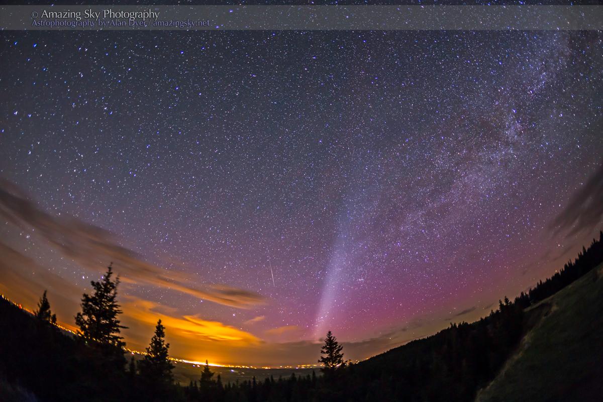 Aurora & Light Pollution from Cypress Hills Park, Alberta