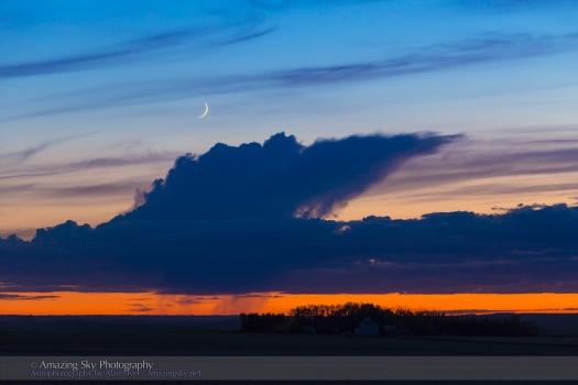 Thin Crescent Moon in Evening Twilight