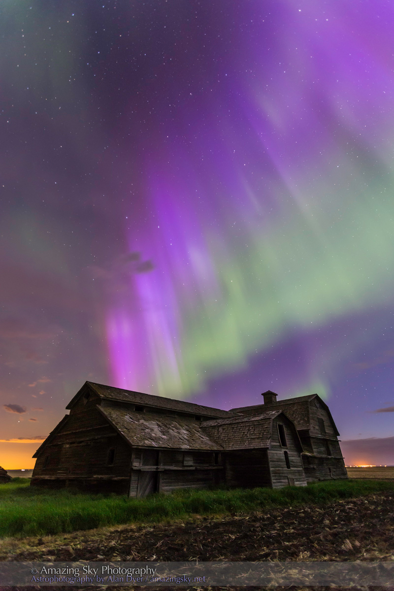 Purple Aurora over Old Barn #1 (June 7-8, 2014)