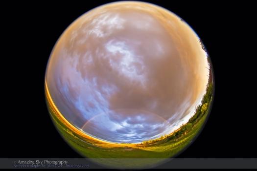 Rainbow over Prairie Field (Fish-Eye