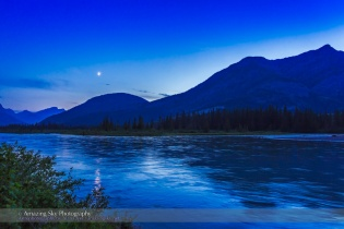 Crescent Moon over the Bow River