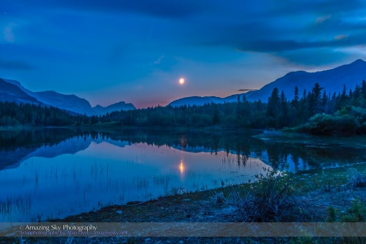 Moon over Middle Lake HDR