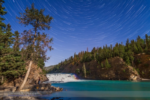 Star Trails & Moonbow over Bow Falls