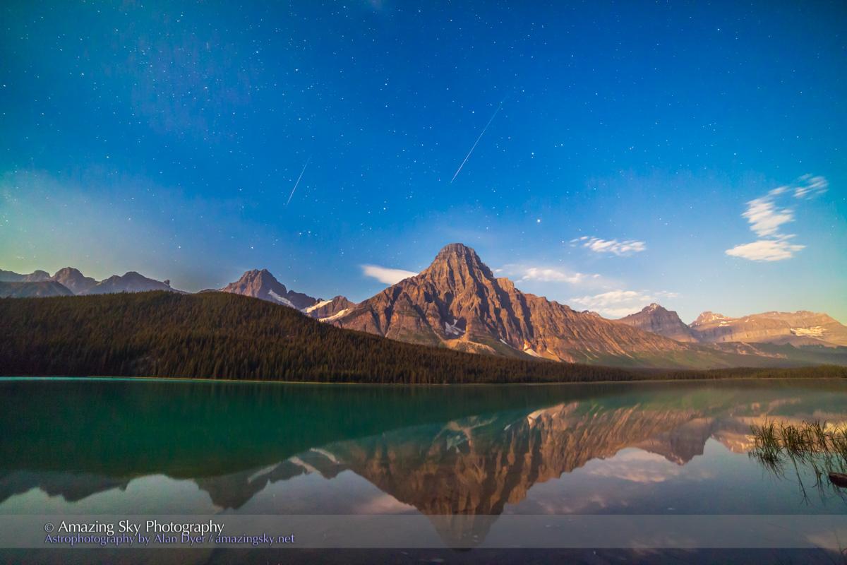 Perseid Meteors over Mt. Cephren, Banff