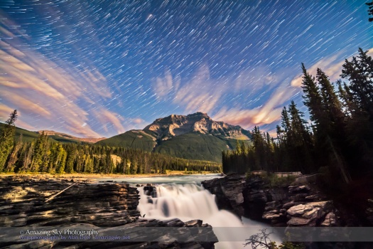 Star Trails over Athabasca Falls