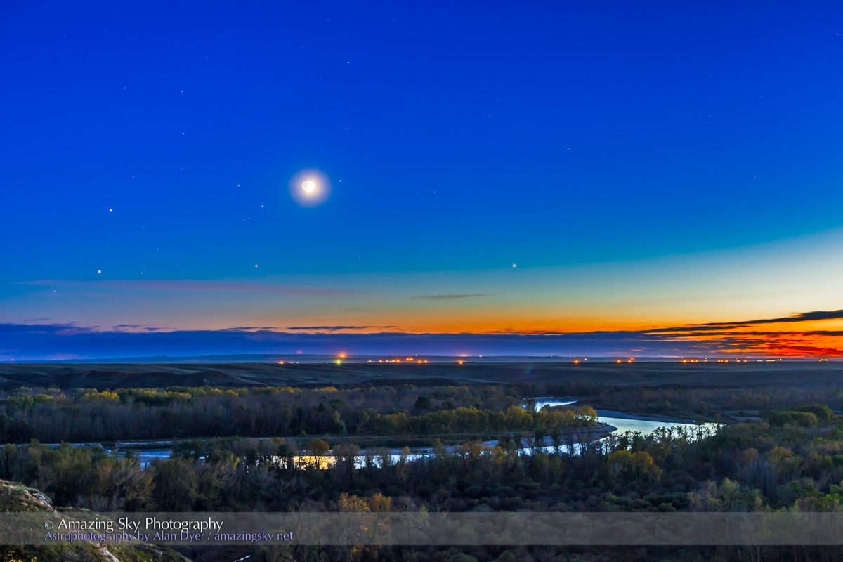 Moon with Antares, Mars & Saturn over Bow River