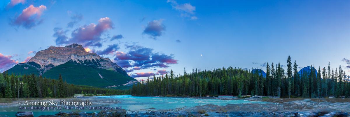 Mt Kerkeslin & Athabasca River at Twilight