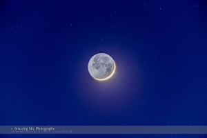 Crescent Moon with Earthshine Amid Stars
