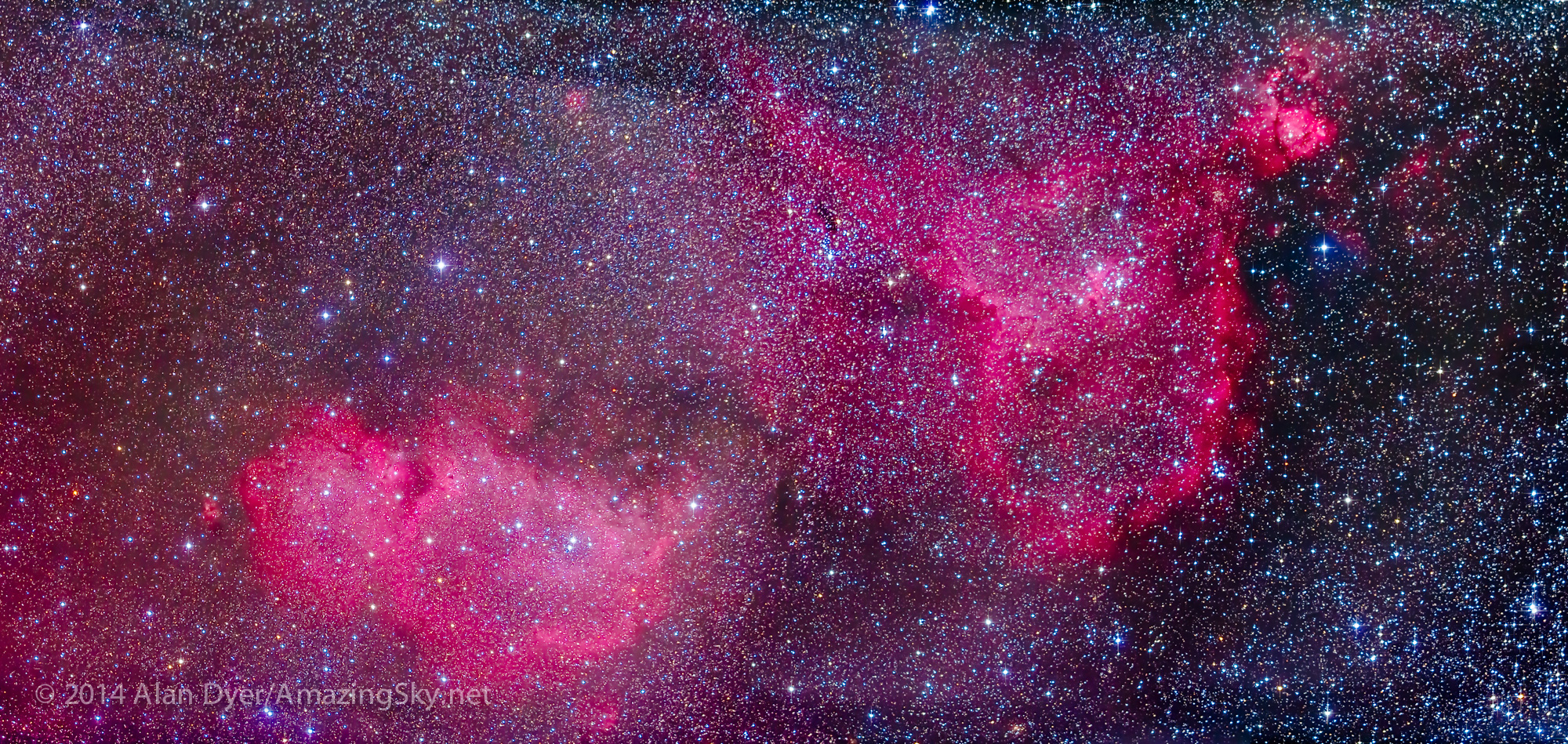 Heart & Soul Nebulas (IC 1805 and IC 1848) in Cassiopeia