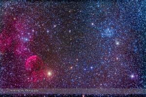Supernova Remnant & Star Cluster in Gemini