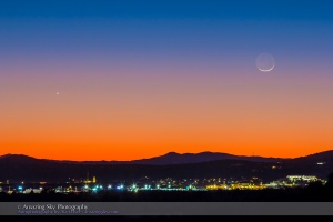 Thin Moon and Venus (Dec 22, 2014)