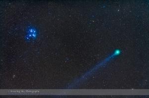 Comet Lovejoy near the Pleiades (Jan 15, 2015)