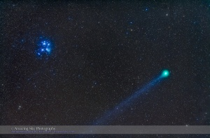 Comet Lovejoy near the Pleiades (Jan 15, 2015)