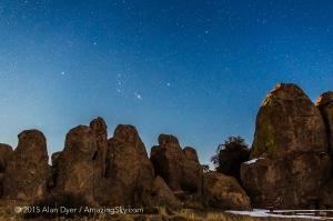 Orion & Comet Lovejoy over City of Rocks