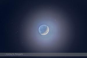 Waxing Moon Amid the Hyades (Telescope)