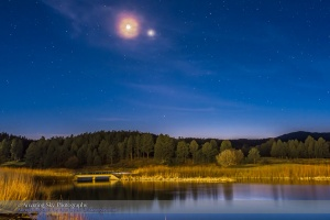 Moon & Venus Conjunction Over Pond #2
