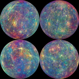 A global false-color map of the mineral composition of Mercury from Messenger data.