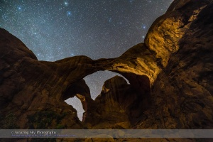 Dark Sky Behind Double Arch