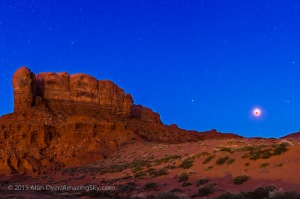 Lunar Eclipse over Monument Valley Mesa
