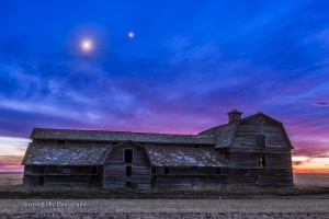 Moon & Venus over Old Barn