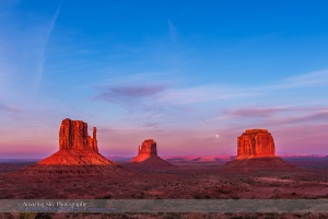 Moonrise Behind the Mittens at Monument Valley (#1)