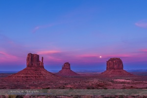 Moonrise Behind the Mittens at Monument Valley (#2)