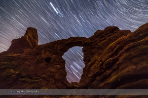 Orion Star Trails Through Turret Arch