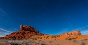 Orion and Venus Setting at Monument Valley