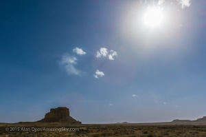 Sun over Fajada Butte at Chaco Canyon