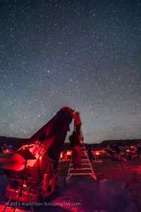 Expert deep-sky observers Larry Mitchell and Barbara Wilson gaze skyward with Larry's giant 36-inch Dobsonian telescope at the Texas Star Party, May 2015. This is a single 60-second exposure with the 14mm lens at f/2.8 and Canon 5D MkII at ISO 3200.