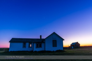 The waxing crescent Moon and Venus (above) over the old farm house at the Visitor Centre at the Old Man on His Back Natural and Historical Conservation Area in southwest Saskatchewan, May 20, 2015, on a very clear night. The old house was the original house lived in by the Butala family who settled the area in the 1920s. This is a single exposure taken as part of an 850-frame time-lapse sequence with the 14mm Rokinon lens and Canon 60Da camera.